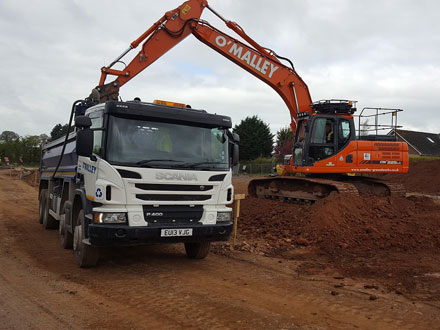 Photo: Haulage vehicles from O'Malley Groundworks and Plant Hire, Penrith, Cumbria